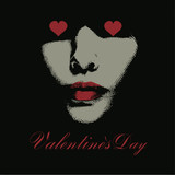 happy Valentines day - greeting card,  woman face