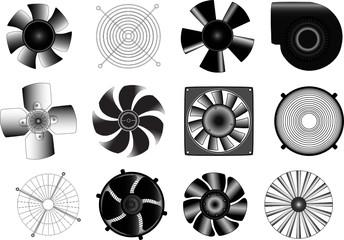 Set of vector electric industrial ventilators