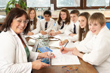 Group Of Teenage Students In Science Class With Tutor