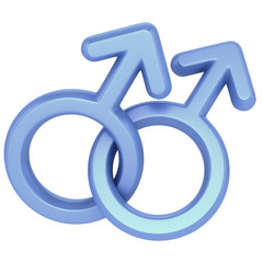 two male symbols crossed representing gay relationship