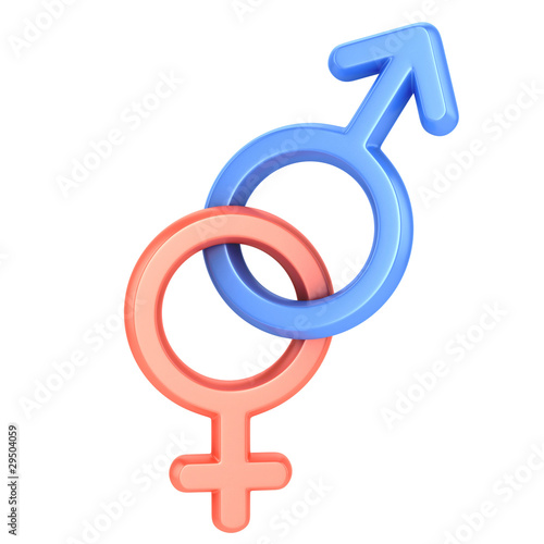 male and female sex symbols isolated over white background