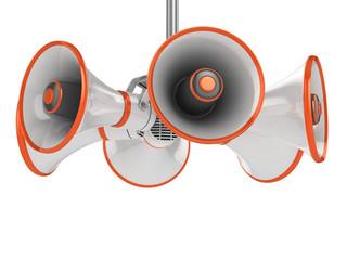 megaphones isolated on white background 3d illustration