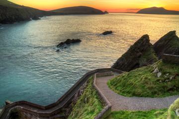 Sunset over rocky irish coast - HDR