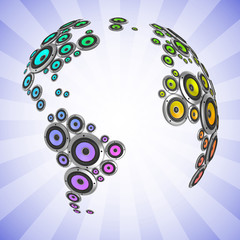planet of sound 3d - many loudspeakers forming the continents
