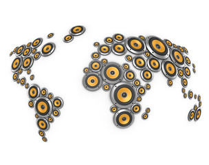 planet of sound - many loudspeakers forming world map