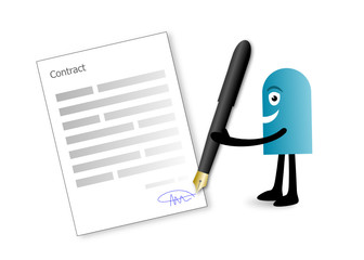signature de contrat (blue man)