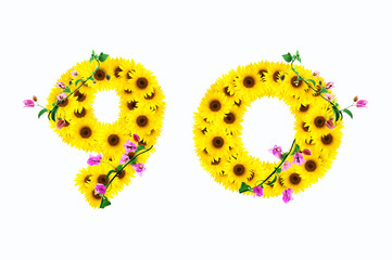 sunflower numbers 9 0 isolated on white background