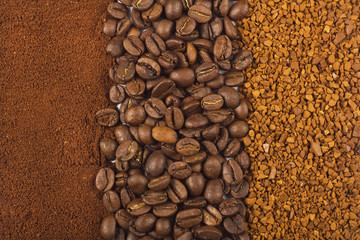 Background of three kinds of cofee