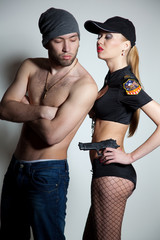 Catched robber and policegirl
