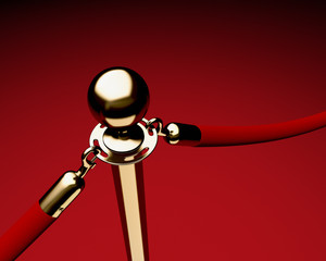 Brass stanchion with red velvet rope