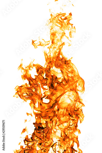 Leinwandbild Motiv Fire flame isolated on white backgound
