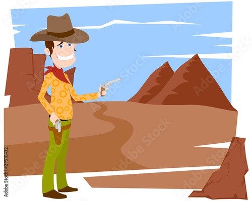 Fotobehang Wild West The cowboy with a pistol