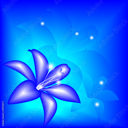 Abstract blue lily on a bright background, eps10