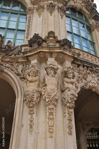 Three satyrs on Zwinger Palace Wallpavillion, Dresden