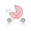 Baby buggy pink for your design