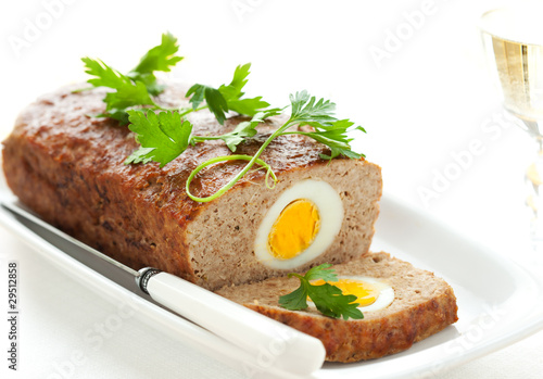 meatloaf with boiled eggs