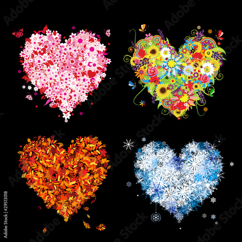 Four seasons - spring, summer, autumn, winter. Art hearts