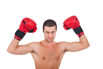 Portrait of young man with boxing gloves isolated on white