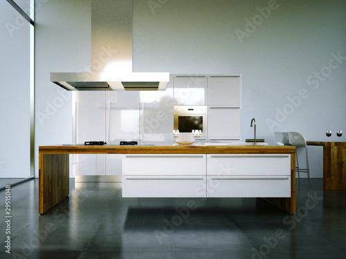 3d Rendering Küche weiß mit Holz mit Steinboden