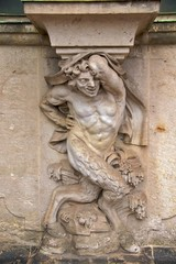 Satyr on column of Zwinger Palace Wallpavillion, Dresden