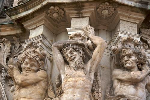 Three satyrs on the Wallpavillion of Zwinger Palace, Dresden