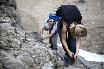 Gesichert Bergsteigen
