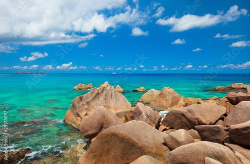 Beautiful rocky coast in Seychelles