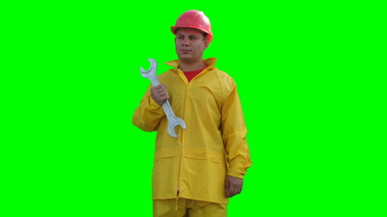 Builder spins with wrenches on the Green Screen LOOP