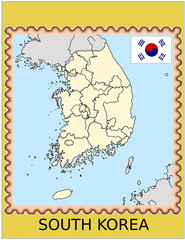 South Korea national emblem map coat flag business background