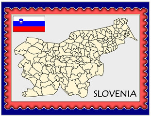 Slovenia national emblem map coat flag business background