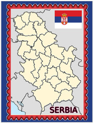 Serbia national emblem map coat flag business background
