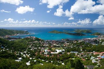 Aerial view of the island of St Thomas, USVI.