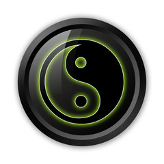 "Black Icon (Green Outlines) ""Yin and Yang"""