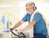 Active pensioner doing spinning with music poster