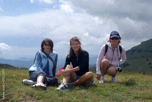 Women hikers in mountains
