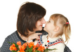 Grandmother and granddaughter rubbing noses; with flowers poster