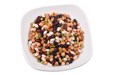 The plate with various bean