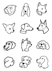 dog faces outlines