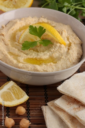 hummus and pitta bread