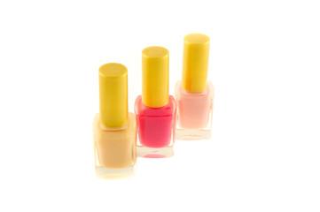 The multi-colored flacons of nail polish