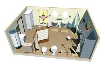 Bagno-Bathroom-Salle de Bain-Toilette-3D