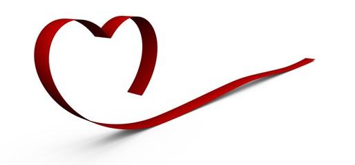 Ruban rouge 3d en forme de cœur