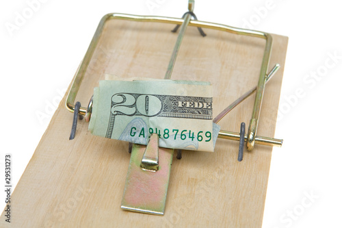 Folded $20 Twenty Dollar Bill Mousetrap Isolated