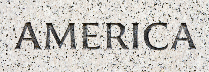 "Word ""America"" Carved in Gray Granite Stone"