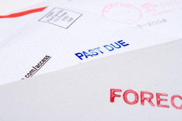 Pile Mail Stamped FORECLOSED PAST DUE Isolated