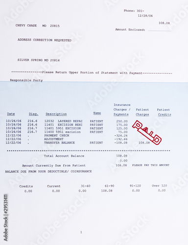 American Medical Bill Mole Procedure Stamped Paid