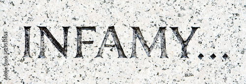 "Word ""Infamy"" Carved in Gray Granite Pearl Harbor"