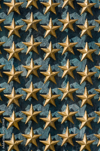 Gold Stars on Wall National World War II Memorial.