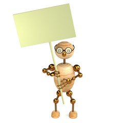3d wood man with a blank board isolated