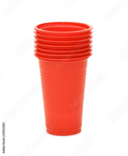 plastic cups isolated on the white background